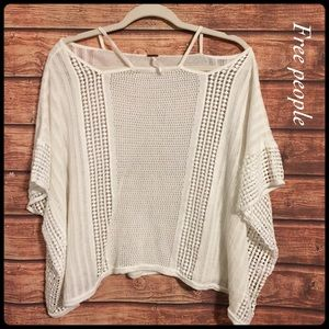 Free people white open shoulder poncho top